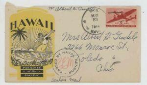 Mr Fancy Cancel WW II Patriotic Hawaii Paradise of the Pacific 3231 '44 #3048