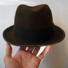 VINTAGE LUCIEN DE BRABANT ET FRERE BROWN W/BLACK RIBBON FEDORA HAT, 6811, SIZE 7