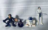 Star Wars Disney Figures Lot Of 4 Darth Vader Princess Leia R2-D2 & Skywalker