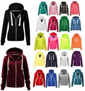 Ladies Girls Zip Up Sweatshirt Fleece Jacket Hooded Top Coat Jacket UK 10 To 28