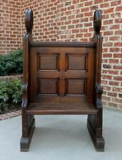 Antique French Oak Deacon's Church Bench Hall Settee Pew Hymnal Prayer Cubby