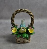 "Vintage Capodimonte Mixed Flower Basket 4"" High"