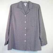 The TOG SHOP Plus 3X Black White Gingham Check Poly Rayon Button Shirt Blouse