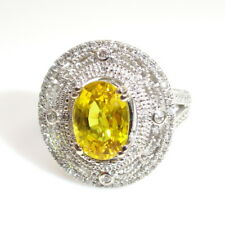 Natural Yellow Sapphire Diamond Halo Cocktail Ring 3.13 TCW in 14k Gold (144857)
