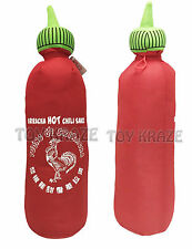 "SRIRACHA PLUSH! LARGE SOFT STUFFED TOY CHILI BOTTLE ROOSTER HOT SAUCE 32"" NWT"