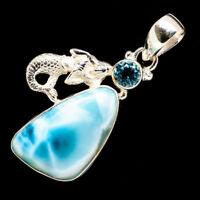 "Larimar, Blue Topaz Mermaid 925 Sterling Silver Pendant 1 3/4"" Jewelry P717287F"