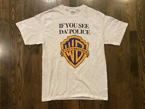 """Vintage """"IF YOU SEE DA POLICE WARN A BROTHER"""" T-Shirt Size Medium M Hanes"""