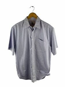 Fletcher Jones Button Up Shirt Mens Size L Blue Check Short Sleeve Pocket Collar