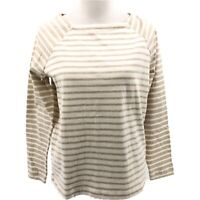 Vineyard Vines Womens Long-Sleeve Knit Elbow Suede Patch Top Oatmeal Heather S