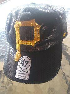 NWT WOMEN'S '47 BRAND PITTSBURGH PIRATES DAZZLE GEMS BLACK GOLD BASEBALL HAT