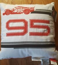 "NEW Disney Cars Lightning McQueen #95 White Red Throw Pillow 16"" Square"