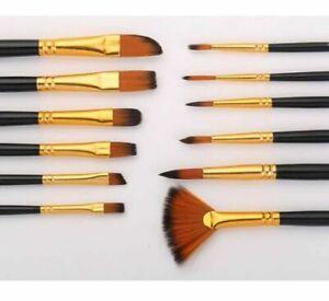 12Pcs Artist Acrylic Watercolors Paint Brushes Set Professional Brush Oil