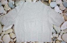 Top / Pull coton + soie t L 38 MC détails col/manches bleu-gris clair chiné TTBE