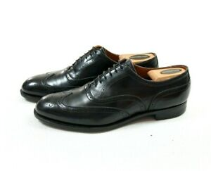 Edward Green Inverness 82 Last Wingtip Calf Leather Oxford Shoes Black Size 7.5