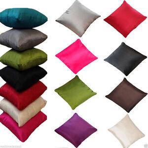 """Plain Faux Silk Cushion Covers 18"""" x 18"""" Pack of 4 Cushion Covers Set"""