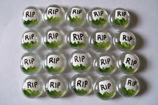 Halloween RIP tombstone graves painted glass gems party favors spooky mini art