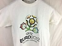 EURO 2012 UEFA Poland-Ukraine Soccer Futbol Football White T-Shirt Adult Small