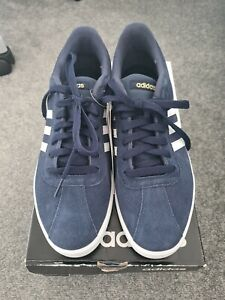 Adidas Courtset Navy White Suede Trainers Shoes Size UK 9