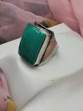 Large BOHO Hippie Style Square TURQUOISE & STERLING SILVER Ring