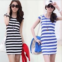 Summer Casual Women's Short Sleeve Striped  Bodycon Silm Crew Neck Dresses New S