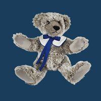 """GRIZZLE"" BIALOSKY TREASURY OF TEDDY BEARS GREY BLUE BOW POSABLE 12"" VINTAGE"