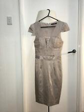 $220 Sheike blush pink tassel 1920s flapper cocktail cap sleeves dress 6 XS mini