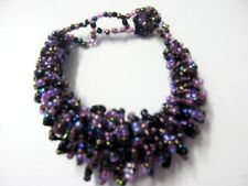 Fairtrade Handcrafted Black Purple Pink heavy Beaded Cluster Bracelet  Arty Gift