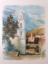 litho de Robert PICCIO, peintre Corse , vue de Cargese