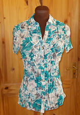 ivory turquoise brown floral crinkle chiffon short sleeve blouse shirt top 10 38