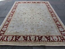Traditional Hand Made Afghan Zigler Oriental Wool Beige Red Carpet 305x342cm