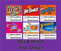 6 Product VENDING MACHINE CANDY STICKERS LABELS  NUTRITION INFO Free Ship