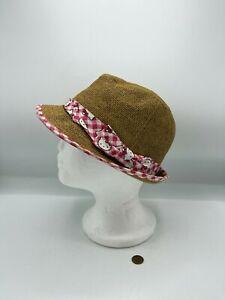 "Hello Kitty S/M Hat by Sanrio 2012 21"" Circumference Fedora Bucket Hat Straw"
