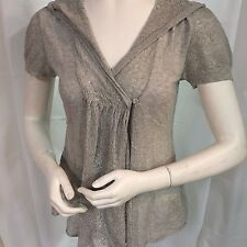 Anthropologie KNITTED & KNOTTED Gray Cardigan HOODED Sweater Size Small