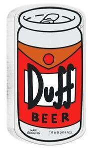 """Pièce D'Argent Tuvalu, Die Simpsons™, """" Duff Bière """", 1 Once, 2019 Pp"""