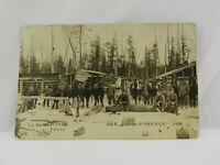 Vintage Unposted Postcard Dated 1919 Lumber Camp Men Horses RPPC Real Photo
