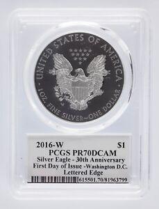 2016-W Silver Eagle PCGS PR 70 DCAM John Mercanti FDOI Washington DC Lettered