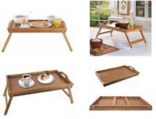 Bamboo Wood Wooden Breakfast Serving Lap Tray Over Bed Table With Folding Legs