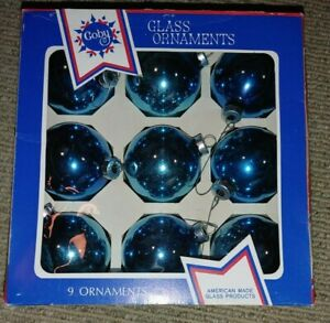 Vintage Mid Century COBY Blue Glass Christmas Ornaments Made in USA Box of 9