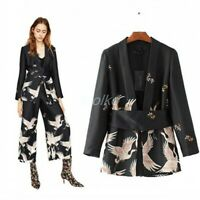 Occident Women Floral Printed V Collar Belt Casual Coat+ Pant Suit Casual New SZ