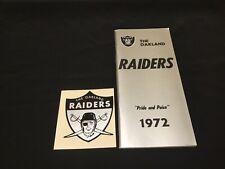 1972 Oakland Raiders Football Media Guide & Window Decal