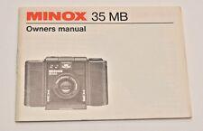 Minox 35MB Owner's Manual, c1985, Original, Not a Copy!