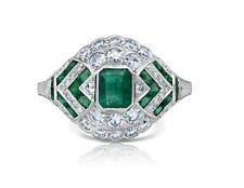 Diamond Emerald Platinum Cocktail Ring Handmade Art Deco Antique Finish Natural