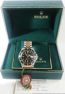 Huge Rolex 16753 Gold Steel GMT Master Watch w Rolex Paper Box Tags