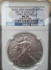 "2011-W AMERICAN SILVER EAGLE NGC MS70 ER....""EAGLE 25TH ANNIVERSARY"".... TITLE !"