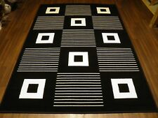 TOP QUALITY 160X230CM APP 8X5FT BEST AROUND RUGS/MATS  BLACK/WHITE SQUARES NEW