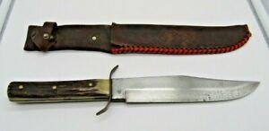 Vintage German Compass 851 Original Bowie Knife Stag Solingen w/ Sheath 217