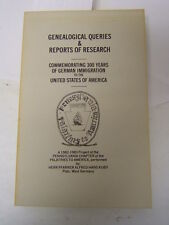 Genealogical Queries and Reports of Research Palatines to America Book