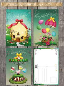 Osterkarten 15-er Set - Postkarte 17,5 x 12 cm, Nostalgie, vintage, 3 Motive
