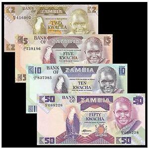 Zambia Banknote 4pcs Set (UNC) 全新 赞比亚 4张 (2,5,10,50克瓦查) 人头版
