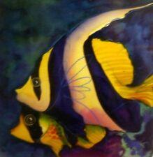Hettie Saaiman original painting Angel Fish mounted ready to frame